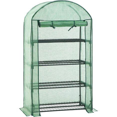 Invernadero de 4 baldas, Cobertizo para plantas con 4 baldas de malla, Cubierta de PE, Puerta enrollable, 89 x 49 x 160 cm, Verde GWP04GN - Verde