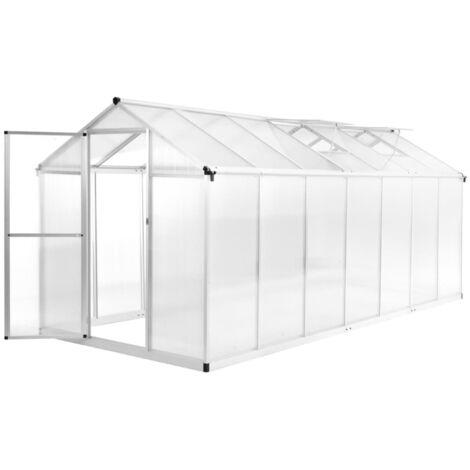 Invernadero de aluminio 421x190x195 cm 15,6 m3