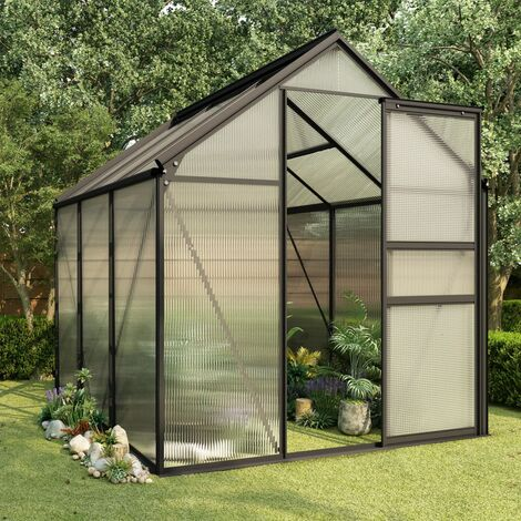 Invernadero de aluminio gris antracita 3,61 m² - Antracita