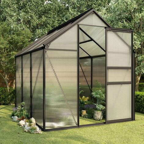 Invernadero de aluminio gris antracita 3,61 m2