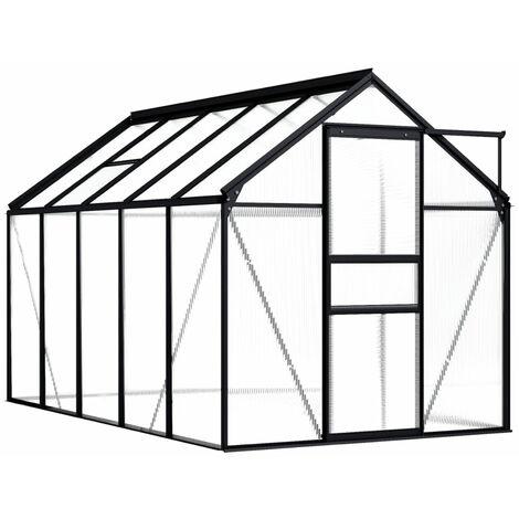 Invernadero de aluminio gris antracita 5,89 m2