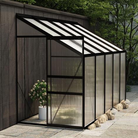 Invernadero de aluminio gris antracita 6,5 m3