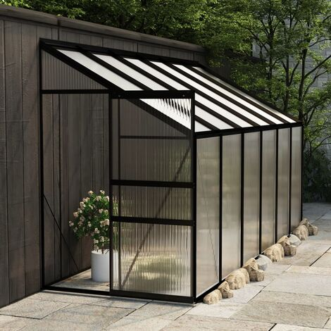 Invernadero de aluminio gris antracita 7,77 m3 - Antracita