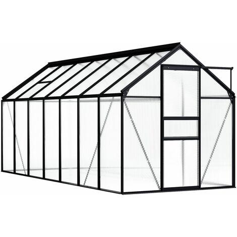 Invernadero de aluminio gris antracita 8,17 m²