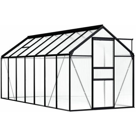 Invernadero de aluminio gris antracita 8,17 m2