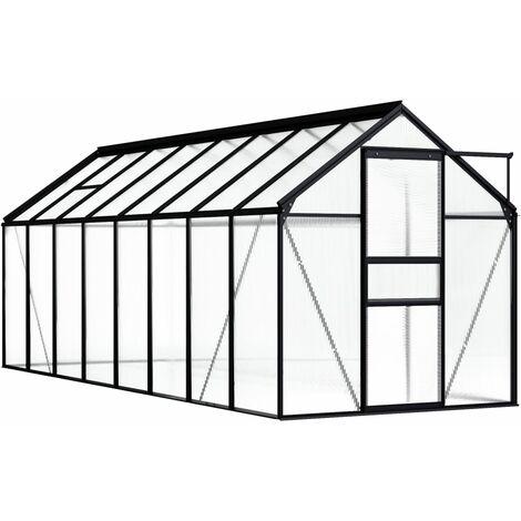 Invernadero de aluminio gris antracita 9,31 m²
