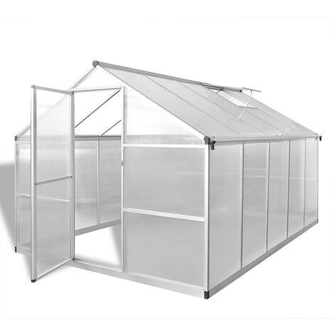 Invernadero de aluminio reforzado con marco base 7,55 m² - Transparente