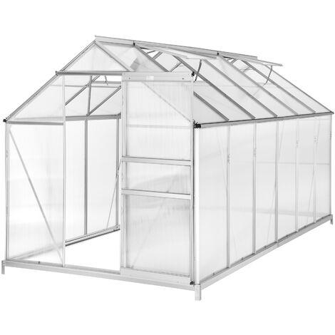 Invernadero de aluminio y policarbonato con base - invernadero de jardín para frutas y verduras, construcción de aluminio con puerta corredera, protección contra viento y lluvia