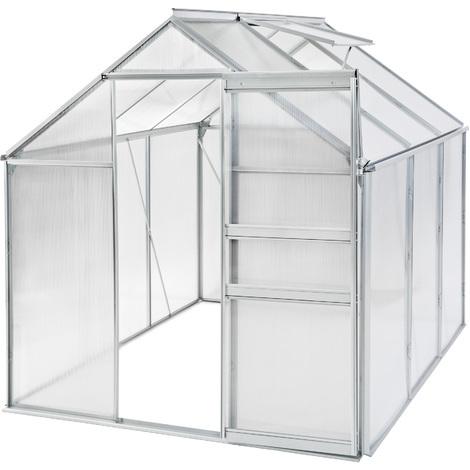 Invernadero de aluminio y policarbonato sin base