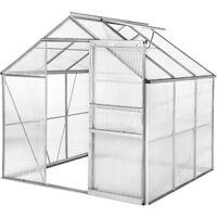 Invernadero de aluminio y policarbonato sin base - invernadero de jardín para frutas y verduras, construcción de aluminio con puerta corredera, protección contra viento y lluvia