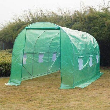 Invernadero de cultivo tubo de acero y PE 450 x 200 x 200 cm Outsunny