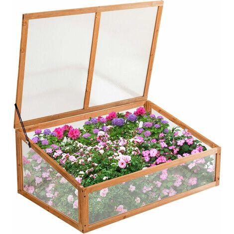Invernadero de Jardín de Madera Soporte para Plantas Caja para Flores Macetas para Exterior Interior