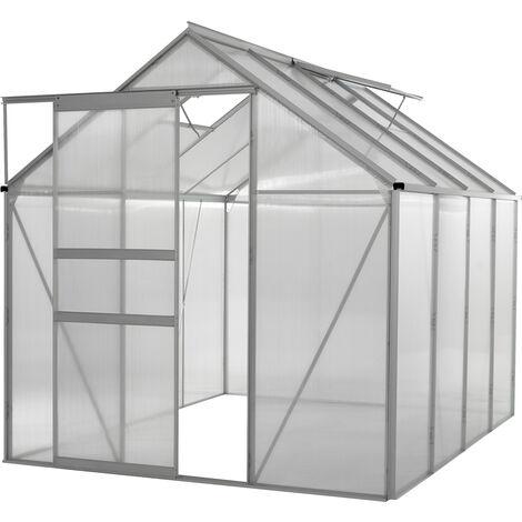 Invernadero de Jardín en Policarbonato Transparente Aluminio para Plantas 9,6m³