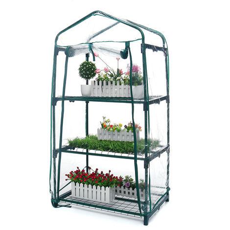 Invernadero de jardín transparente con estantes de 3 niveles 69x49x126cm