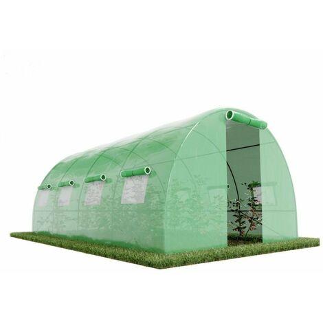Invernadero de jardín túnel 12m² - lona armada - con ventanas laterales y puerta con cremallera 12m2 - Verde