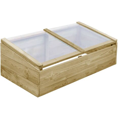 Invernadero de madera de pino impregnada 100x50x35 cm