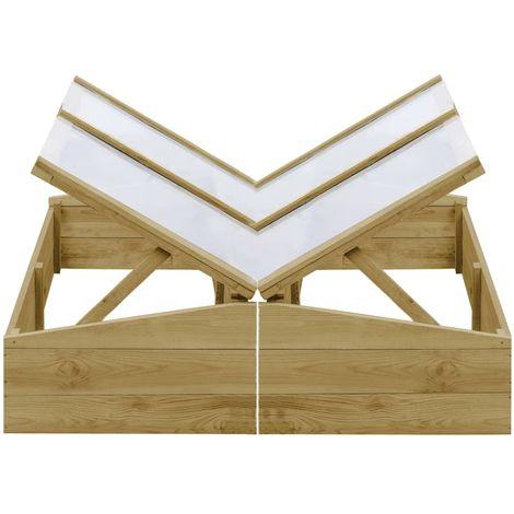 Invernadero de madera de pino impregnada 2 uds 100x50x35 cm
