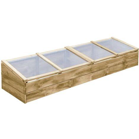 Invernadero de madera de pino impregnada 200x50x35 cm - Verde