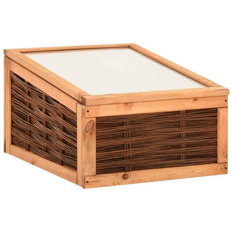 Invernadero de madera maciza de pino y de sauce 60x80x45 cm