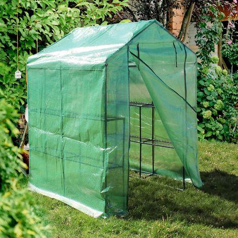 Invernadero de plástico 143x143x195cm Transitable Con 8 baldas Caseta cultivo plantas Vivero Red PE