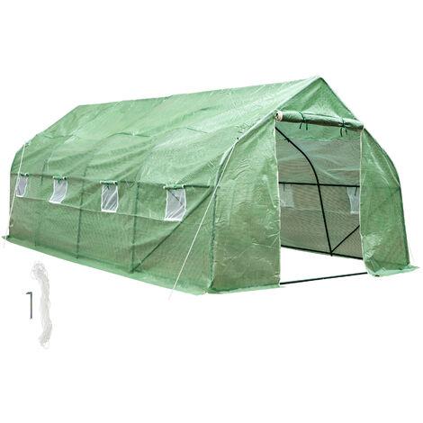 Invernadero de plástico - invernadero de jardín para frutas y verduras, construcción de metal con puerta de cremallera, protección contra viento y lluvia - verde