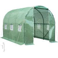 Invernadero de plástico tipo túnel - invernadero de jardín para frutas y verduras, construcción de metal con puerta de cremallera, protección contra viento y lluvia - verde