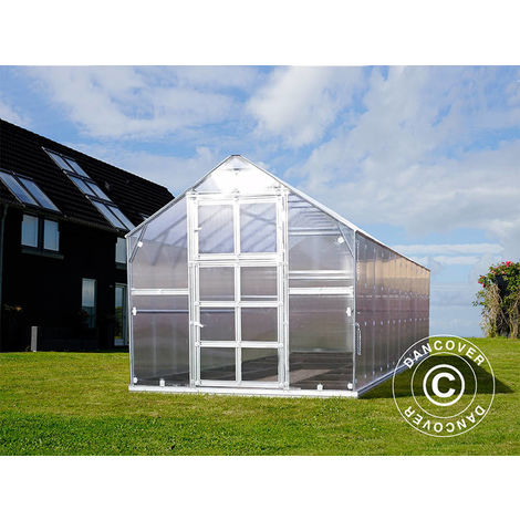 Invernadero de policarbonato TITAN Classic 480, 14,4m², 2,35x6,12m, Plateado