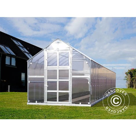 Invernadero de policarbonato TITAN Classic 480, 19,1m², 2,35x8,12m, Plateado
