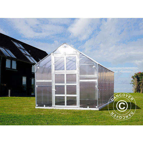 Invernadero de policarbonato TITAN Classic 480, 9,7m², 2,35x4,12m, Plateado