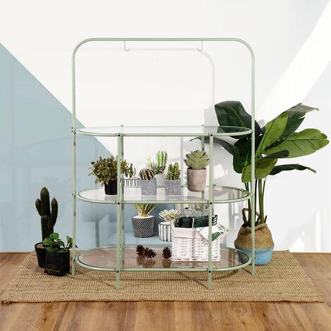 Invernadero de vidrio de metal verde escandinavo de 3 capas estantería
