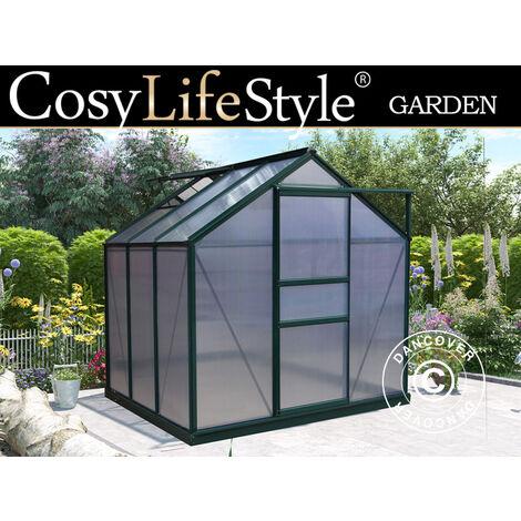Invernadero en policarbonato 3,64m², 1,9x1,92x2,01m, Verde