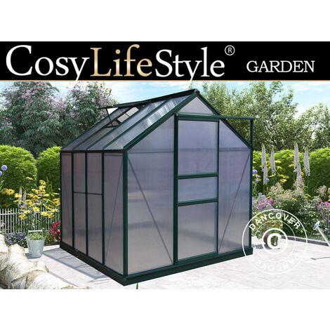 Invernadero en policarbonato 4,78m², 1,9x2,52x2,01m, Verde