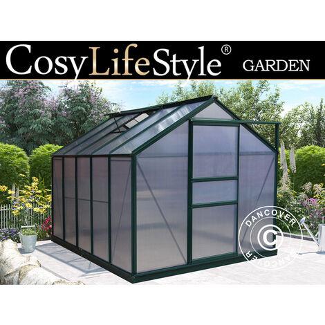 Invernadero en policarbonato 5,92m², 1,9x3,12x2,01m, Verde