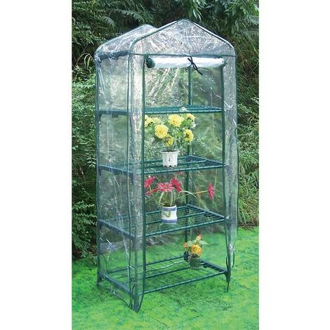 Invernadero estructura acero y funda PVC 2 bandejas 49 x 69 x 92 cm