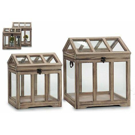 Invernadero Gift Decor Natural Madera (2 Piezas) (24 X 40 X 33 Cm)