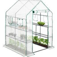 Invernadero Jardín y Terraza con 4 Ventanas y 8 Baldas, Acero y Poliéster, Transparente, 190 x 140 x 140 cm