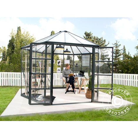 Invernadero orangerie de policarbonato OASIS, hexagonal 8,6m², 3,16x3,63x2,89m, Antracita