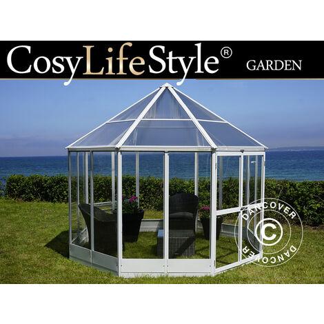 Invernadero orangerie en policarbonato, Octagonal 7,37m², 2,98x2,98x2,78m, Blanco