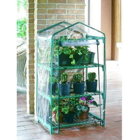 Invernadero plant 125x70x50cm 3b nortene acero/pvc verde/tra