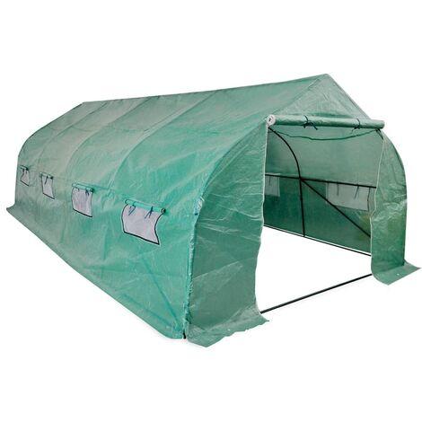 Invernadero tienda portátil estructura de acero 18 m² - Verde