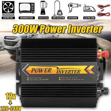 Inversor de corriente de onda sinusoidal pura de 12 V CC a 220 V 300 W con salidas de CA y puerto USB doble para sistema solar de coche de emergencia CPAP RV