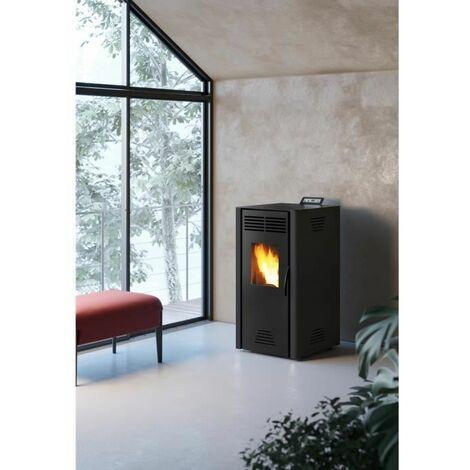 INVICTA Adrano Poele a granules modulable de 3,1 a 7,3 kW - Acier - Rendement : 90 % - Autonomie : 21 h - Flamme verte 7* - Noir