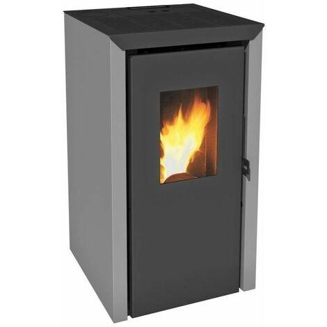 INVICTA Bassano 5 kw Poele a granules modulable de 2,9 a 5,8 kW - Rendement 93 % - Autonomie 8 h - Flamme Verte 7* - Gris