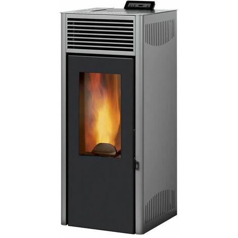 INVICTA Nola 7 - Poele a granules modulable de 2,5 a 7 kW - Acier - Rendement : 86 % - Autonomie : 27 h - Flamme verte 6* - Gris