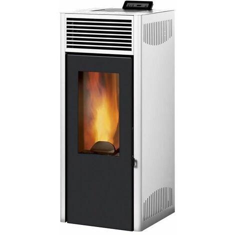 INVICTA Nola 8 - 8 Kw - Poele a granules etanche modulable de 3,1 a 8 kW - Acier - Rendement : 90 % - Flamme verte 7* - Blanc