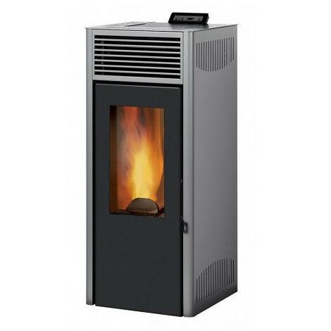 INVICTA Nola 8 - 8 Kw - Poele a granules etanche modulable de 3,1 a 8 kW - Acier - Rendement : 90 % - Flamme verte 7* - Gris