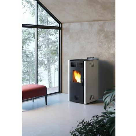 INVICTA Adrano Poele a granules modulable de 3,1 a 7,3 kW - Acier - Rendement : 90 % - Autonomie : 21 h - Flamme verte 7* - Gris