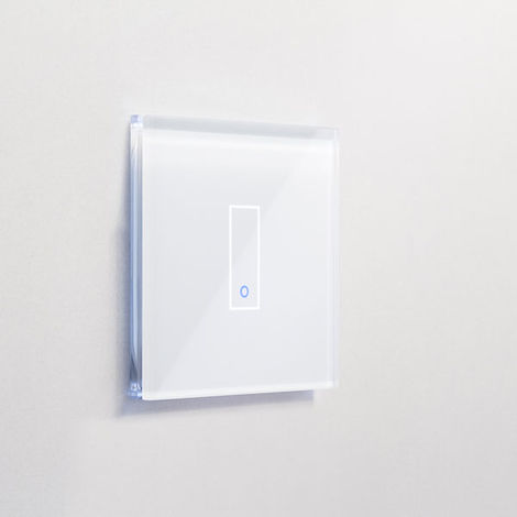 Interrupteur simple WiFi intelligent verre blanc tactile compatible Google Home Amazon Alexa Iotty - IOTTY