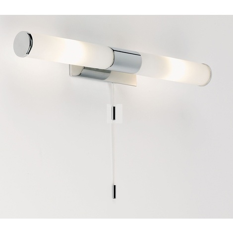 IP44 25W Wall Light w/ Chrome effect plate & matt opal glass by Washington Lighting