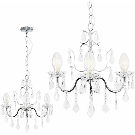 IP44 3 Way Chrome Bathroom Ceiling Light Chandelier + Clear Glass Droplets